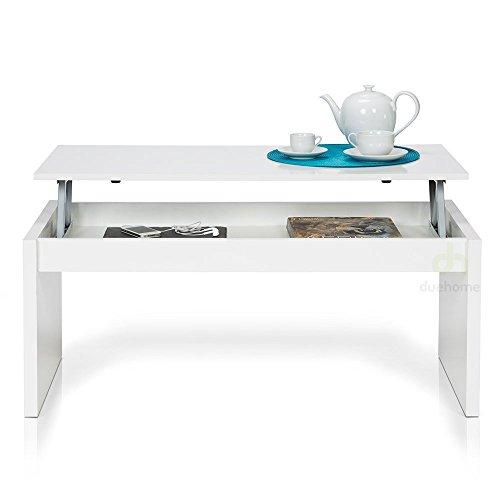 due home couchtisch wei gl nzend mit tablett klappsitz. Black Bedroom Furniture Sets. Home Design Ideas