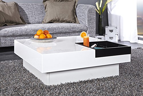 design couchtisch cuebase wei mit integriertem tablett hochglanz wohnzimmertisch tisch m bel24. Black Bedroom Furniture Sets. Home Design Ideas