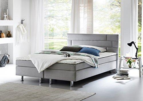 atlantic home collection boris boxspringbett stoff liegefl che 180 x 200 cm grau m bel24. Black Bedroom Furniture Sets. Home Design Ideas