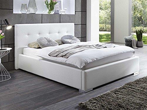 polsterbett kunstleder bett mit bettkasten lattenrost 140x200 weiss doppelbett m bel24. Black Bedroom Furniture Sets. Home Design Ideas