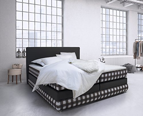 b famous merlin boxspringbett stoff anthrazit wei double 210 x 196 x 120 cm m bel24. Black Bedroom Furniture Sets. Home Design Ideas