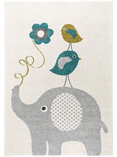 benuta Kinderteppich Birdies and Elephant Blau 120x170 cm | Teppich für Spiel- und Kinderzimmer