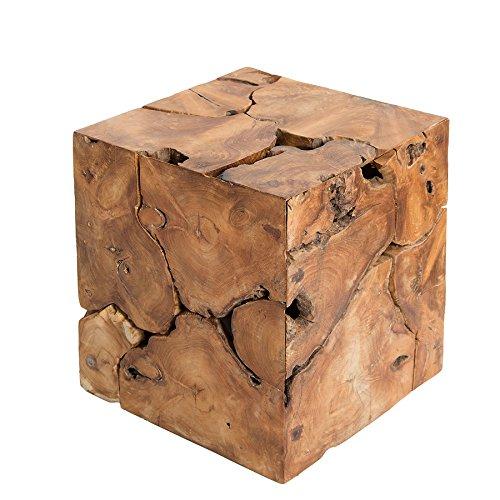 massiver baumstamm couchtisch square aus teakholz 45cm w rfel hocker beistelltisch m bel24. Black Bedroom Furniture Sets. Home Design Ideas