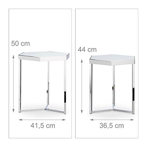 relaxdays beistelltisch 2er set glas metallgestell sechseckig modernes design milchglas. Black Bedroom Furniture Sets. Home Design Ideas