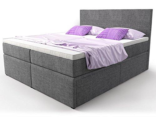 boxspringbett mit bettkasten schubkasten grau stoff elisa doppelbett hotelbett bonellfederkern. Black Bedroom Furniture Sets. Home Design Ideas