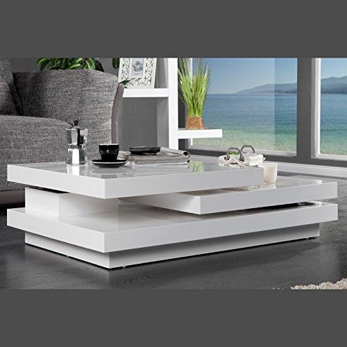 """DESIGN COUCHTISCH """"TEKTO"""" flexibler Wohnzimmertisch mit mehreren Ebenen weiß"""