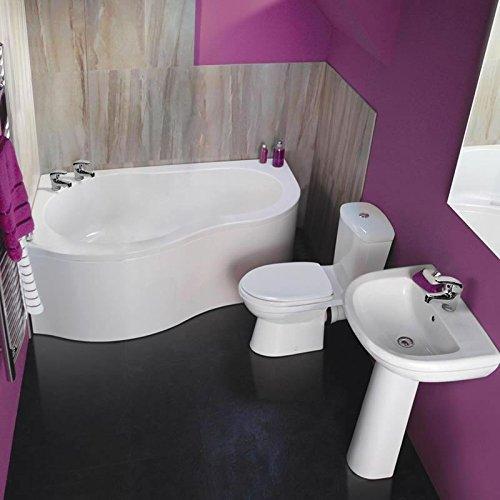 Hudson Reed Badezimmerausstattung Fordyce - Stand-WC, Eckbadewanne und Waschbecken im Set - Rundes Design in Weiß