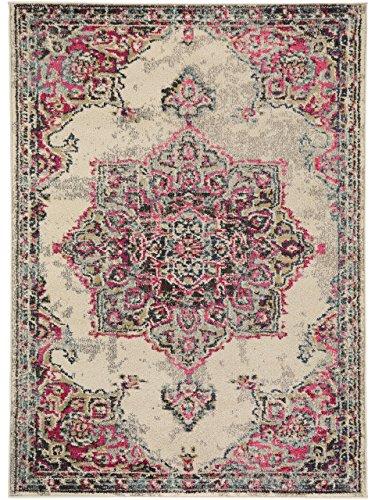 benuta Teppich Casa Beige/Pink 140x200 cm | Moderner Teppich für Wohn- und Schlafzimmer