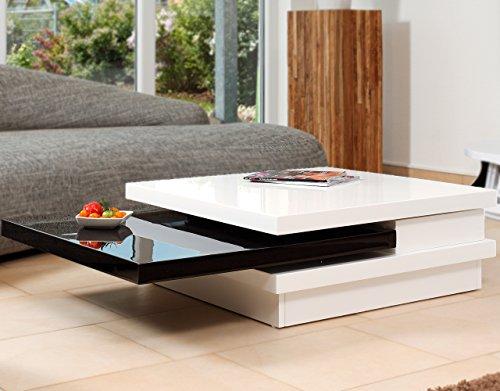 couch tisch wei schwarz hochglanz aus mdf 120x80cm recht eckig goci moderner wohnzimmer. Black Bedroom Furniture Sets. Home Design Ideas