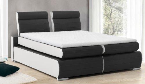 b famous boxspringbett monaco 180x200 cm pu kunst leder schwarz wei m bel24. Black Bedroom Furniture Sets. Home Design Ideas