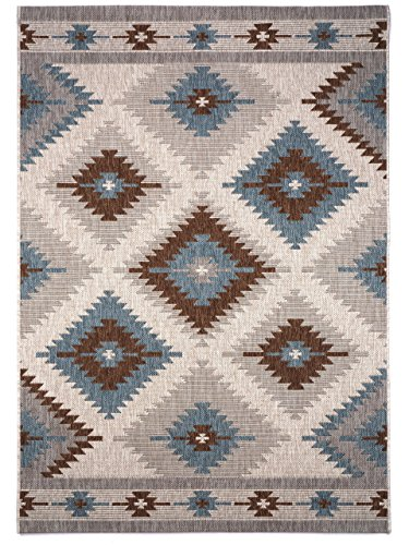 benuta In- & Outdoor Teppich Star Kilim Braun 160x230 cm | Pflegeleichter Teppich geeignet für Innen- und Außenbreich, Balkon und Terrasse
