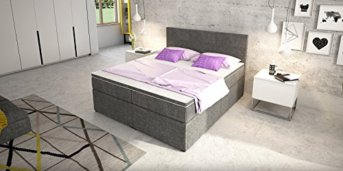 boxspringbett mit bettkasten schubkasten grau stoff elisa doppelbett hotelbett bonellfederkern. Black Bedroom Furniture Sets. Home Design Ideas