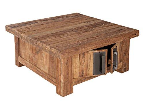 couchtisch truhe mit 4 t ren aus recyceltem teak holz 85x85 cm quadratisch laroc massiv holz. Black Bedroom Furniture Sets. Home Design Ideas