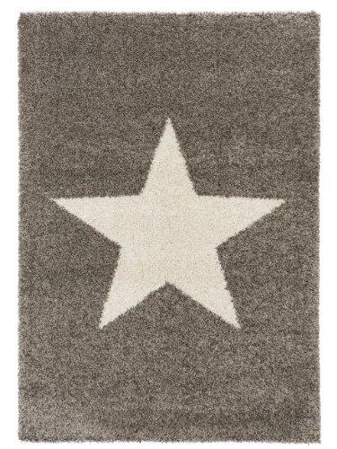 benuta Shaggy Hochflor Teppich Graphic Star Grau 160x230 cm | Langflor Teppich für Schlafzimmer und Wohnzimmer