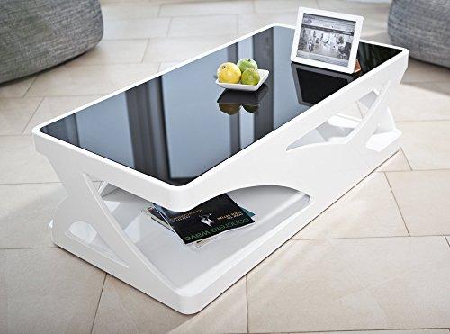 salesfever couchtisch in hochglanz wei mit schwarzer glasplatte ventura m bel24. Black Bedroom Furniture Sets. Home Design Ideas