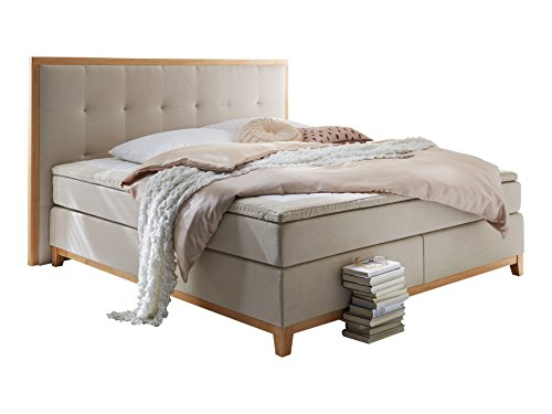 Atlantic Home Collection SONJA Boxspringbett,7-Zonen Taschenfederkern, 180 x 200 cm, Stoff, beige
