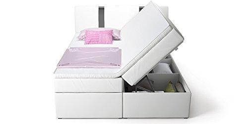 boxspringbett mit bettkasten wei arizona2 doppelbett hotelbett topper chromblende. Black Bedroom Furniture Sets. Home Design Ideas