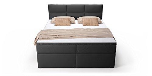 boxspringbett mit bettkasten schubkasten schwarz viana doppelbett hotelbett bonellfederkern. Black Bedroom Furniture Sets. Home Design Ideas