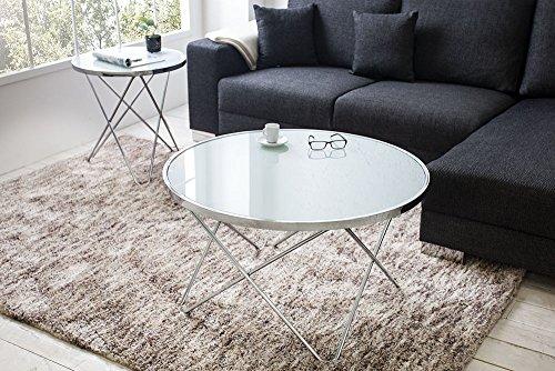 design couchtisch orbit 85 cm chrom wei beistelltisch tisch wohnzimmertisch rund glastisch. Black Bedroom Furniture Sets. Home Design Ideas