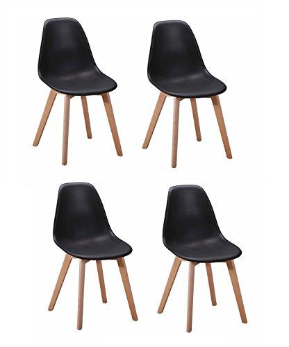 4Stühle Skandinavisches Design–ergonomisch geformte Sitzfläche–Füße aus Buchenholz–Collection dawy schwarz