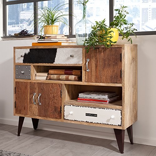 wolf m bel sideboard mit 3 schubladen 3 t ren und metallf en pilo m bel24. Black Bedroom Furniture Sets. Home Design Ideas