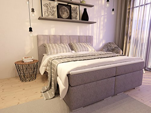 boxspringbett ka line 180x200 cm hellgrau h3 mit f en polsterbett premium hotelbett bett. Black Bedroom Furniture Sets. Home Design Ideas