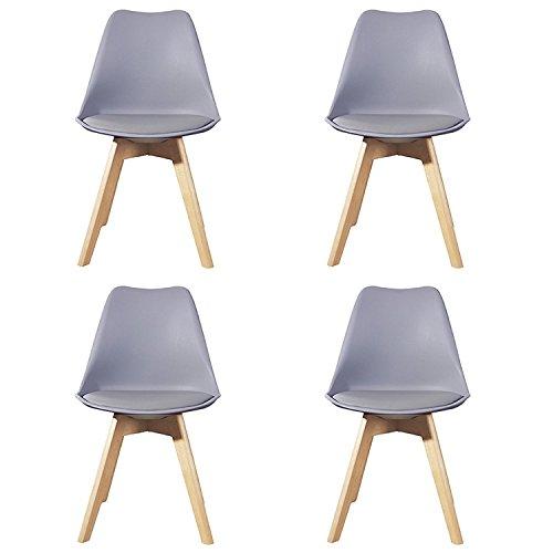 Ajie Set von 4 Stühle 52x48x82cm Trend skandinavischen Retro Design Gepolsterter lStuhl Kunststoff PP Faux PU Massivholz Esszimmerstühle - Grau