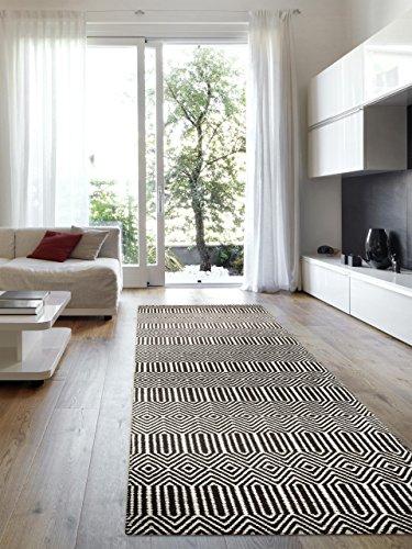 benuta Teppich Läufer Sloan, Wolle, Baumwolle, Schwarz / Weiß, 80 x 300.0 x 2 cm