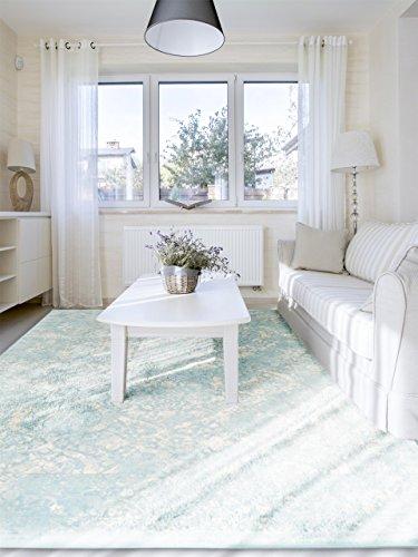 benuta Vintage Teppich Im Used-Look, Kunstfaser, Blau, 160 x 230.0 x 2 cm