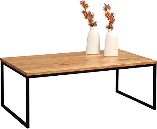 HomeTrends4You 264222 Couchtisch , Holz, wildeiche massiv geölt / metall schwarz matt, 110 x 60 x 43 cm
