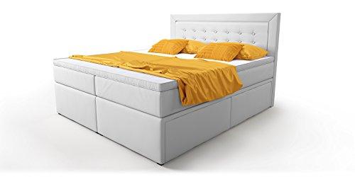 boxspringbett mit bettkasten schubkasten wei schwarz celia doppelbett hotelbett bonellfederkern. Black Bedroom Furniture Sets. Home Design Ideas