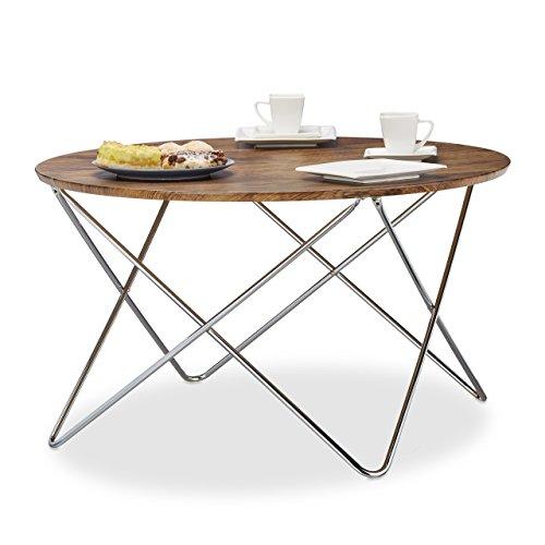 Relaxdays Beistelltisch rund, Couchtisch Vintage Look Holz, Metallgestell,  Wohnzimmertisch klein, flach,...
