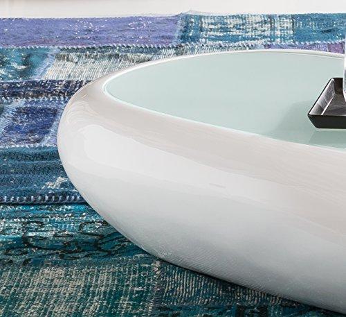 Salesfever couchtisch godi aus wei em fiberglas 120 x for Ovaler wohnzimmertisch