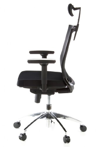 hjh OFFICE 657240 Bürostuhl Drehstuhl PORTO MAX Netzstoff schwarz/schwarz, strapazierfähige Polsterung, langlebiger Netzrücken, höhenverstellbare Armlehnen, Schreibtischstuhl ergonomisch