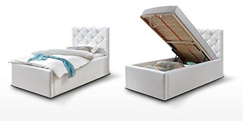 polsterbett bett mit bettkasten 90x200 wei nelly. Black Bedroom Furniture Sets. Home Design Ideas