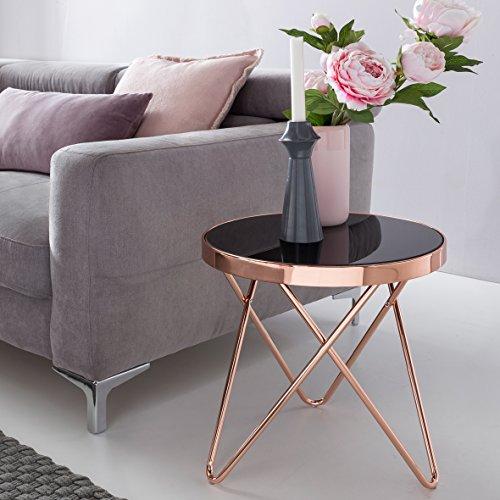 FineBuy Design Beistelltisch Dreibein Metall Glas ø 42 cm schwarz / kupfer | Wohnzimmertisch verspiegelt Sofatisch modern | Glastisch Kaffeetisch rund