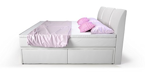 boxspringbett mit bettkasten schubkasten 160x200 wei arizona doppelbett hotelbett. Black Bedroom Furniture Sets. Home Design Ideas