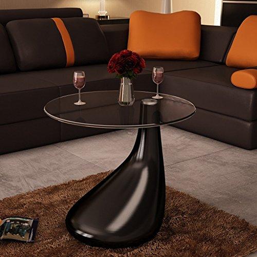 Vidaxl design couchtisch lounge tear schwarz beistelltisch for Design glastisch couchtisch