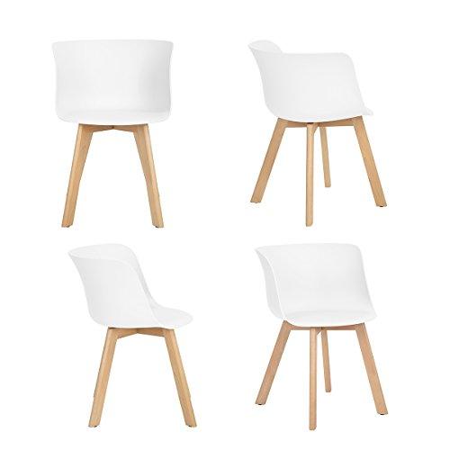 4x Retro Designerstuhl, 4er Esszimmerstühle mit Armlehne , Küchenstuhl mit Lehne Design für Esszimmer/Konferentraum , weiß