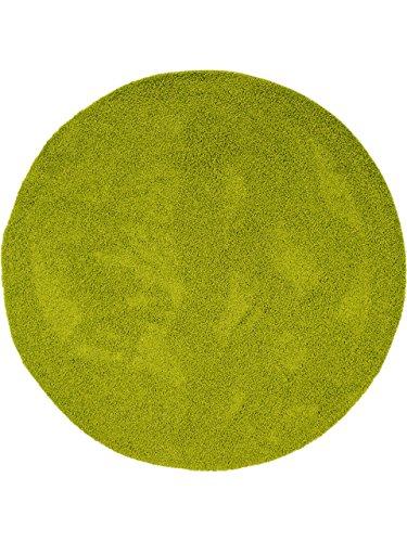 benuta Hochflorteppich Swirls Shaggy Langflor Grün ø 120 cm rund Kunstfaser schadstofffrei