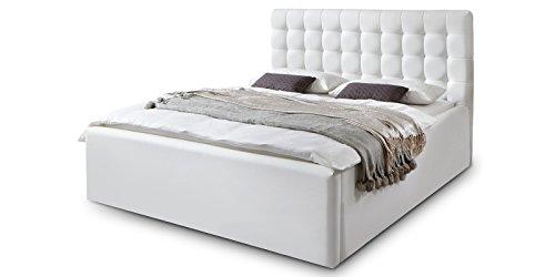 luxus polsterbett mit bettkasten molly xxl kunslederbett doppelbett ehebett wei 180x200cm 1. Black Bedroom Furniture Sets. Home Design Ideas