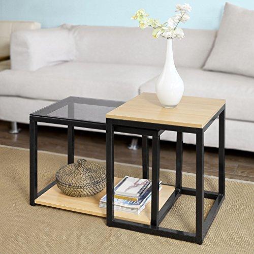 sobuy 2er set couchtisch beistelltisch 2 teilig satztisch. Black Bedroom Furniture Sets. Home Design Ideas