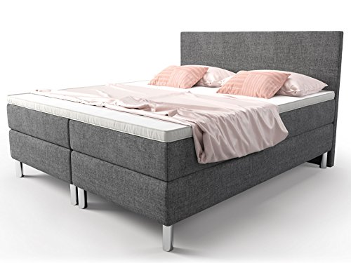 boxspringbett 160x200 grau doppelbett hotelbett cosmo webstoff fein ehebett taschenfederkern. Black Bedroom Furniture Sets. Home Design Ideas