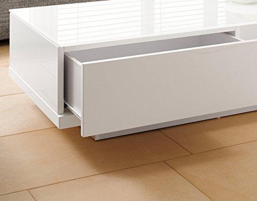 couch tisch wei hochglanz mit schublade 120x60cm recht. Black Bedroom Furniture Sets. Home Design Ideas