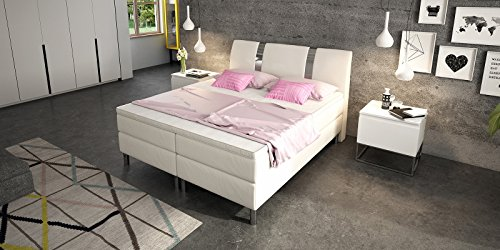 boxspringbett 180x200 wei doppelbett hotelbett arizona kunstleder ehebett bonellfederkern. Black Bedroom Furniture Sets. Home Design Ideas