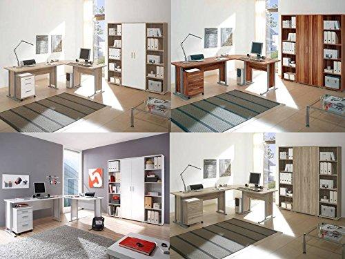 7-tlg Arbeitszimmer komplett Büromöbel Komplettset in 4 verschiedenen Dekoren mit großem Schreibtisch / Winkelschreibtisch
