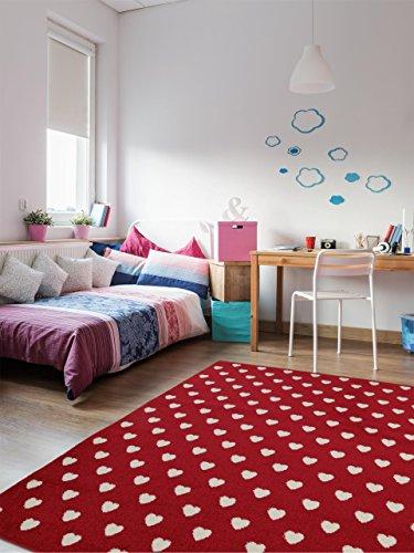 benuta Teppich Noa Love Rot 80x150 cm | Moderner Teppich für Wohn- und Schlafzimmer