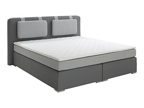Atlantic Home Collection HARDY Boxspringbett, Stoff, grau, 180 x 200 cm