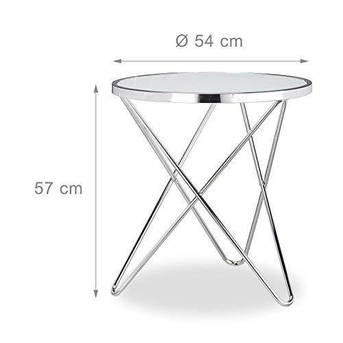 relaxdays beistelltisch glas medium chrom milchglas. Black Bedroom Furniture Sets. Home Design Ideas