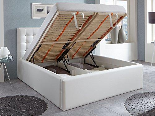 luxus polsterbett mit bettkasten selly mit zirkonia steinen xxl kunslederbett doppelbett ehebett. Black Bedroom Furniture Sets. Home Design Ideas